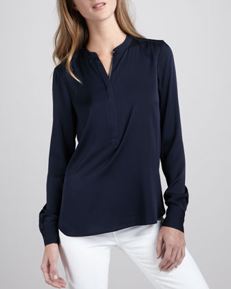 Silk Zip-Placket Top