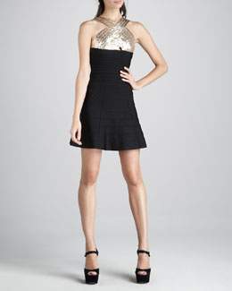 Herve Leger Sequin-Top A-Line Bandage Dress