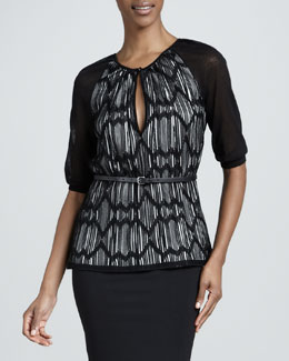 M Missoni Lattice Striped Blouse