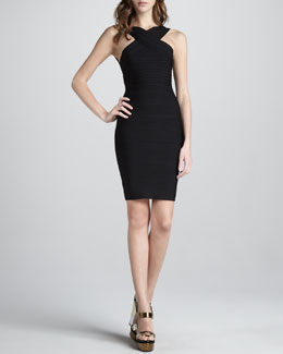 Herve Leger Cut-In Bandage Dress, Black