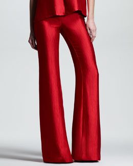 Wes Gordon Crushed Satin Flare Pants