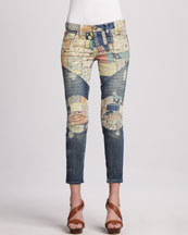 Current/Elliott The Moto Patchwork Jeans