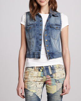 Current/Elliott Sleeveless Snap-Front Denim Jacket