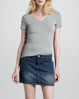 Current/Elliott The Five-Pocket Sundown Denim Skirt