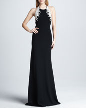 Carmen Marc Valvo Embroidered Halter Gown