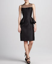 Carmen Marc Valvo Dot-Print Peplum Cocktail Dress