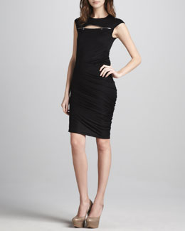 McQ Alexander McQueen Zip-Yoke Ruched Dress, Black
