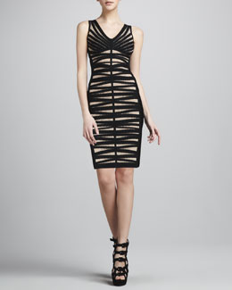 Herve Leger Dotted V-Neck Bandage Dress