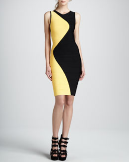 Herve Leger Wavy Colorblock Sleeveless Bandage Dress