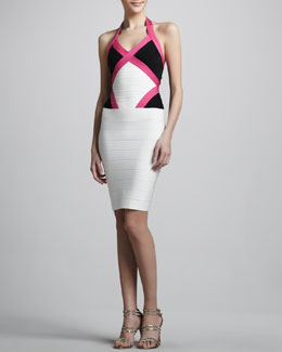 Herve Leger Colorblock Halter Bandage Dress
