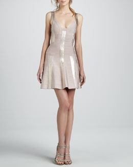 Herve Leger Metallic Fit-and-Flare Bandage Dress