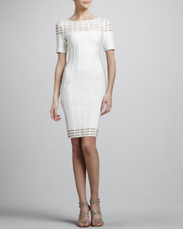 Herve Leger Cutout Half-Sleeve Bandage Dress