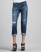AG Adriano Goldschmied Ex-Boyfriend Damage Cropped Jeans