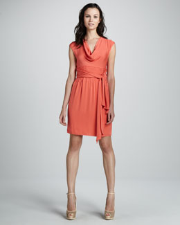 Catherine Malandrino Cowl-Neck Belted Dress