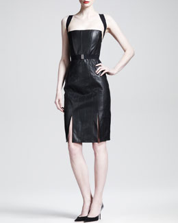 Gareth Pugh Leather Racerback Corset Dress