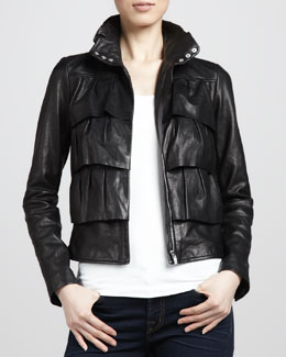 Diane von Furstenberg Cupcake Tiered Leather Bomber Jacket