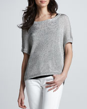 Vince Metallic Short-Sleeve Sweater