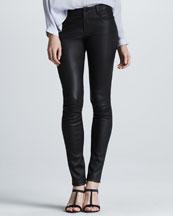 Vince Stretch Leather Skinny Pants, Black