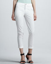 Vince Fitted Cropped Twill Pants, White