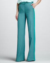 Rachel Zoe Jett Wide-Leg Pants, Dark Cyan/Blue