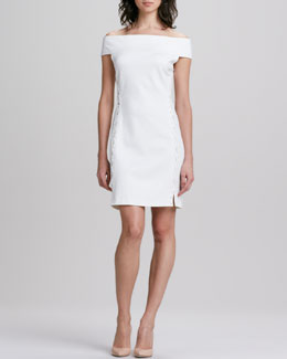 Halston Heritage Off-the-Shoulder Lace-Up Ponte Dress