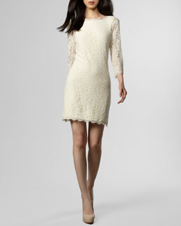 Diane von Furstenberg Zarita Lace Shift Dress, Ivory