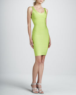 Herve Leger Basic Bandage Dress, Bright Lime