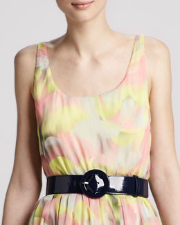 Alice + Olivia Patent Round-Buckle Belt