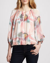 Alice + Olivia Tama Puff-Sleeve Floral Top