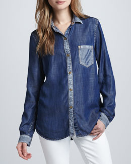 7 For All Mankind Colorblock Denim Shirt