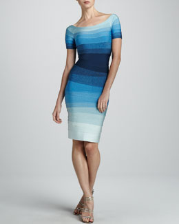 Herve Leger Short-Sleeve Ombre Bandage Dress