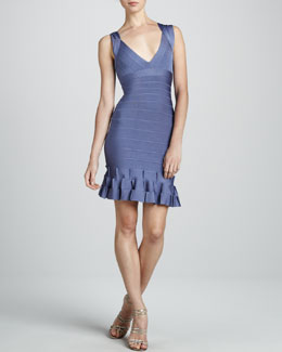 Herve Leger Ruffle-Hem Bandage Dress
