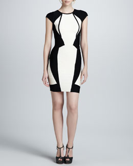 Herve Leger Two-Tone Bandage Dress
