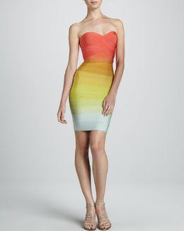 Herve Leger Strapless Rainbow Ombre Dress