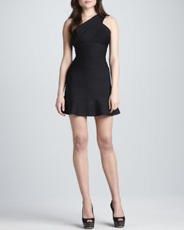 Herve Leger One-Shoulder Flare-Hem Dress