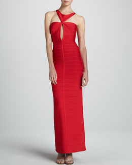 Herve Leger Cutout Bandage Sheath Gown
