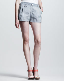 Rag & Bone Tennis Pleated Seersucker Shorts