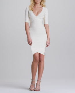 Herve Leger V-Neck Half-Sleeve Bandage Dress