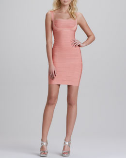 Herve Leger Sleeveless Square-Neck Bandage Dress