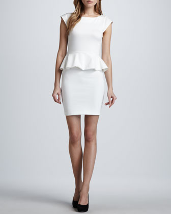 Victoria Ponte Peplum Dress, Cream
