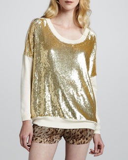 Haute Hippie Sequined Knit-Sleeve Pullover
