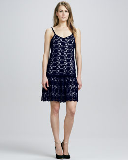 Alice + Olivia Tatyana Crochet-Overlay Dress
