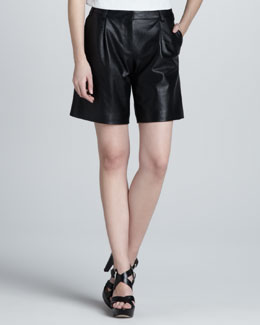 Tibi Perforated Leather Shorts