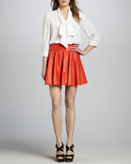 Alice + Olivia LuAnn Pleated Leather Skirt