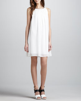 Alice + Olivia Genae Leather-Trim Dress