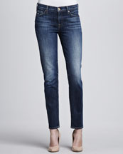 7 For All Mankind Bright Blue Slim Cigarette Jeans