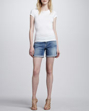 7 For All Mankind Mid Roll Up Shorts, Summer Canyon