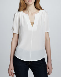 Joie Amone Silk V-Neck Top, Porcelain