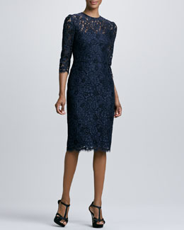Kalinka Jewel-Neck Lace Cocktail Dress