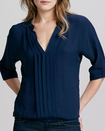 Marru Split-Neck Silk Top